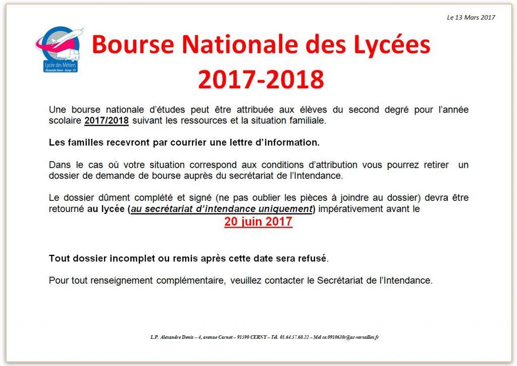Info Bourses 2017 2018 Lycee Des Metiers Alexandre Denis